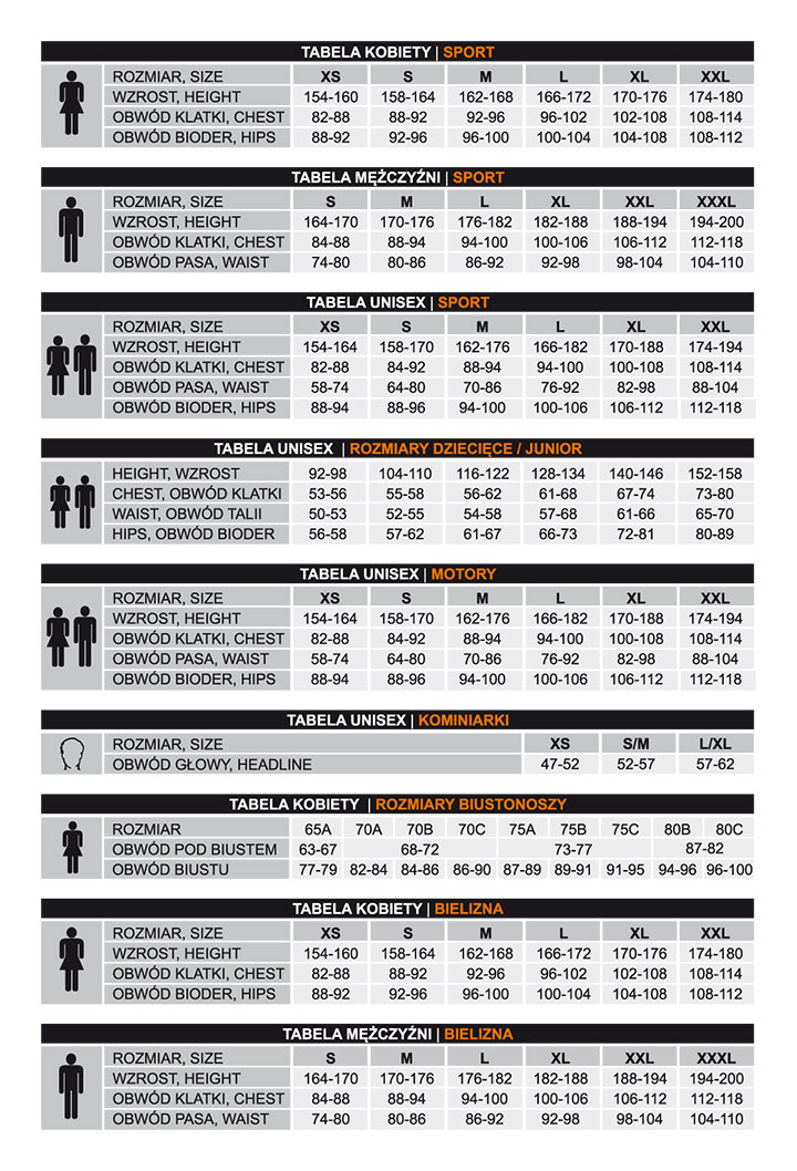 Tabela rozmiarów odzieży Brubeck